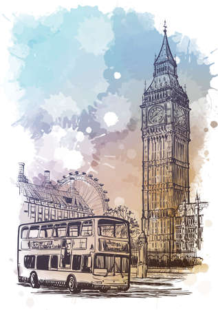 Parliament square, Westminster, London, UK. Vintage design. Linear sketch on a watercolor textured background. Illustration