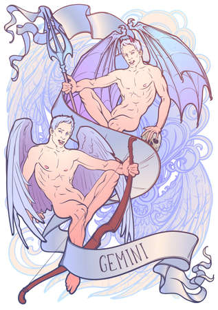 Zodiac sign of Gemini, element of Air. Intricate linear drawing on watercolor textured background. Soft pastel celestial palette. A4 vertical format. vector illustration.