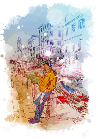 Street scene with Gondolier in Veniece, Italy. Vintage design. Linear sketch on a watercolor textured background. EPS10 vector illustration