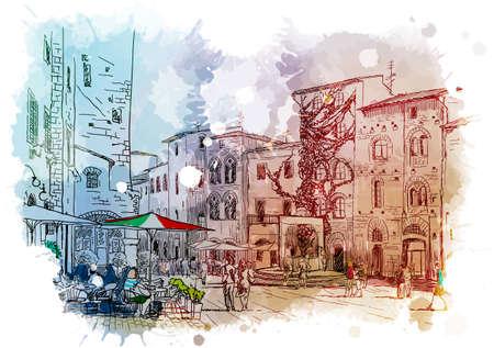 Panorama di strada a San Gimignano, Italia. Disegno d'epoca. Schizzo lineare su una priorità bassa strutturata dell'acquerello. Illustrazione vettoriale EPS10 Vettoriali