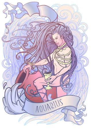Zodiac sign of Aquarius, element of Air. Intricate linear drawing isolated on white background. Soft pastel celestial palette. A4 vertical format. vector illustration.