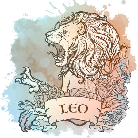 Zodiac sign of Leo, element of Fire. Intricate linear drawing on watercolor textured background. Roses decorative garland. Square format.