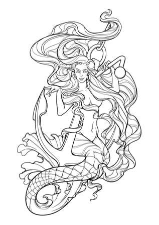 Beautiful mermaid with long wavy hair sitting on anchor. Intricate black line drawing isolated on white background. EPS10 vector illustration Illustration