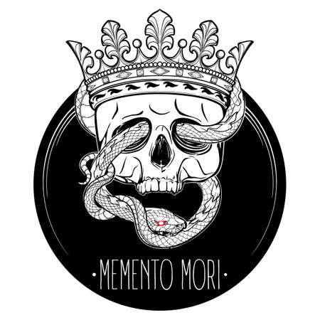 Crowned human skull with a snake eating its own tail. Alchemy concept illustration with a sign meaning remember you are mortal. Black and white drawing isolated on white background. EPS 10 vector