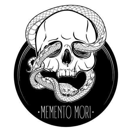 Human skull with a snake eating its own tail. Alchemy concept illustration with a sign in latin meaning remember you are mortal. Black line drawing isolated on a white background. EPS 10 vector Illustration
