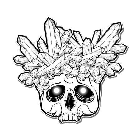 Human skull with a crystals growing on it. Alchemy concept illustration with a sign in latin meaning remember you are mortal. Black Line drawing isolated on a white background. EPS 10 vector Illustration
