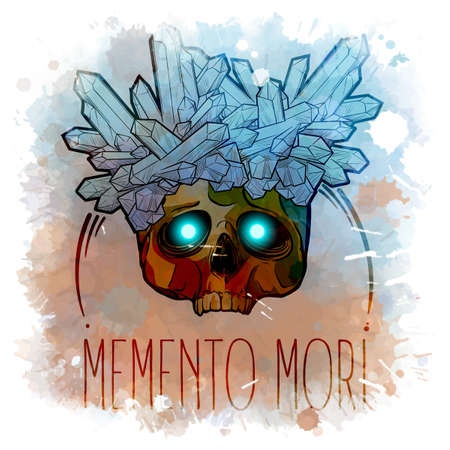 Human skull with a crystals growing on it. Alchemy concept illustration with a sign in latin meaning remember you are mortal. Line drawing on a watercolor textured background. EPS 10 vector Standard-Bild