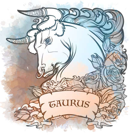 Zodiac sign of Taurus, element of Earth. Intricate linear drawing on watercolor textured background. Roses decorative garland. Square format. EPS10 vector illustration.