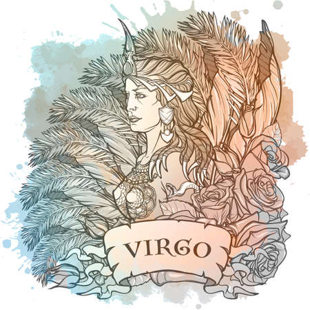 Zodiac sign of Virgo, element of Earth. Intricate linear drawing on watercolor textured background. Roses decorative garland. Square format. EPS10 vector illustration.