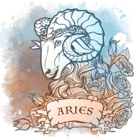 Zodiac sign of Aries, element of Fire. Intricate linear drawing on watercolor textured background. Roses decorative garland. Square format. EPS10 vector illustration.