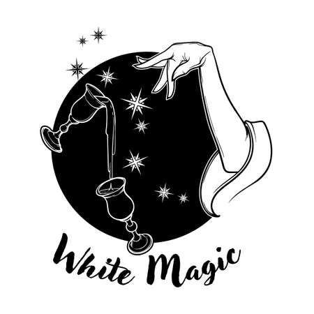 White Magic. Hand performing magical gestures and levitating glasses. Black and white drawing isolated on black background. EPS10 vector illustration.