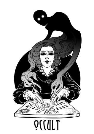Occult practices. Victorian woman talking to spirits of the death with help of ouija. Black and white drawing isolated on white background. EPS10 vector illustration.