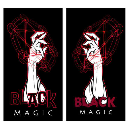 Black Magic. Hand performing magical gestures inside the Kabbalah symbol. 3 colors drawing isolated on black background. EPS10 vector illustration.