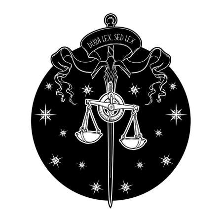 Symbolic representation of justice. Sword and scales with a motto stating in latin strict law but the law. Black and white drawing isolated on white background. EPS10 vector illustration.