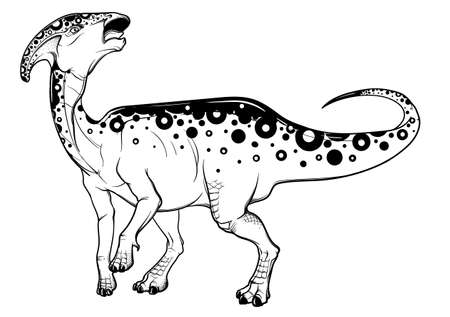 Parasaurolophus standing on four communicating with a herd. Black linear hand drawing isolated on a white background. Coloring Book page. EPS10 Vector illustration