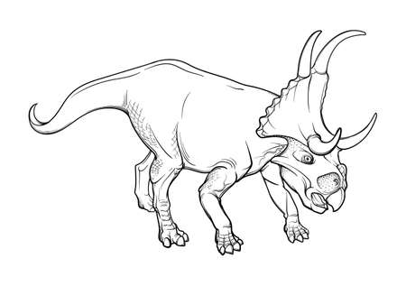 Walking Diabloceratops. Black linear hand drawing isolated on a white background. Coloring Book page.