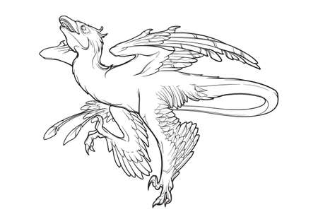 Hunting microraptor. Black linear hand drawing isolated on a white background. Coloring Book page.