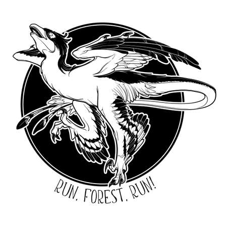 Hunting microraptor. Black linear hand drawing isolated on a white background. Round sticker. EPS10 Vector illustration