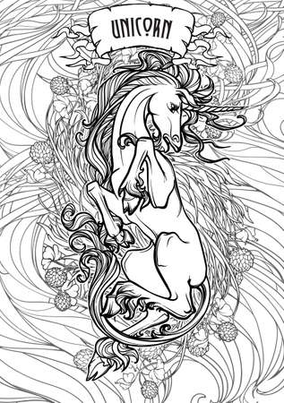 Unicorn laying on his back. Fantasy concept art for tattoo, logo, colouring books for kids and adults. Black and white drawing with decorative background. EPS10 vector illustration.