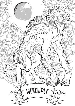 Werewolf in a forest. A legendary monster from european folklore tales. Black linear drawing isolated on a white background. Coloring book or tattoo design. EPS10 vector illustration. Stock fotó - 162071794