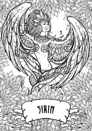 Sirin - half-woman half-bird in Russian myths and fairy tales. Singing and laughing. Intricate linear drawing on a decorative leafs background. Coloring book page. Tattoo design. EPS10 vector drawing.