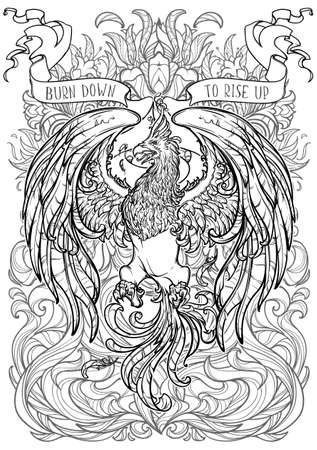 Phoenix or Phenix magic creature from ancient greek myths. Decorative background with fire flares. Black and white intricate drawing for colouring book.