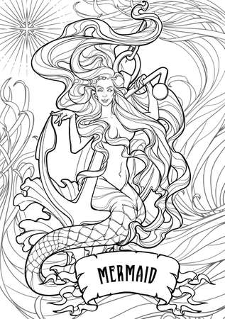 Beautiful mermaid with long wavy hair sitting on anchor. Intricate black line drawing isolated on white background.