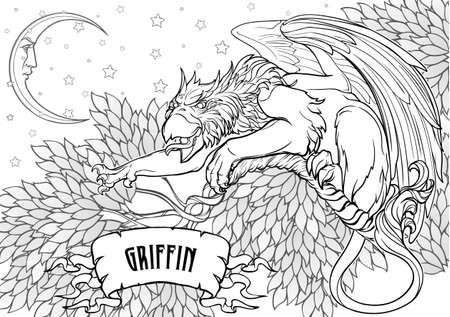 Griffin, griffon, or gryphon legendary creature from Greek mythology siting on a tree in an ambush. illustration for Coloring book.