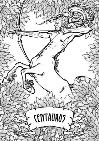 Rearing Centaur holding bow and arrow framed with leafy trees. Tattoo design. Coloring book page.