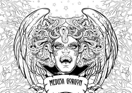 Medusa Gorgon. Ancient Greek mythological creature with face of a woman and snake hair. Folklore, legendary beast. Coloring book page.