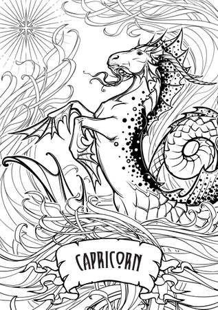 Capricorn. Fantastic sea creature with body of a goat and a fish tail among a tangled threads of a seaweed. Vintage art nouveau style concept art for horoscope, tattoo or coloring book. vector