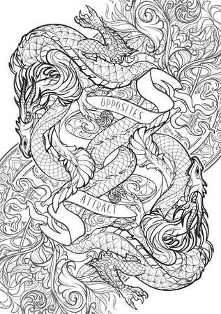 Two dragons fighting each other illustrating unity of opposites principle. Plant and gothic flourishes. Concept art intricate line drawing. Coloring book page. Illusztráció