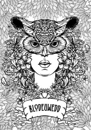 Mythological character woman created from flowers and turned into an owl. Illustration to Welsh Mabinogion. Beautiful woman in an owl mask. Coloring book page.