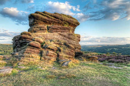 Sunset at Moorland, Mother Cap rock, Peak District photo