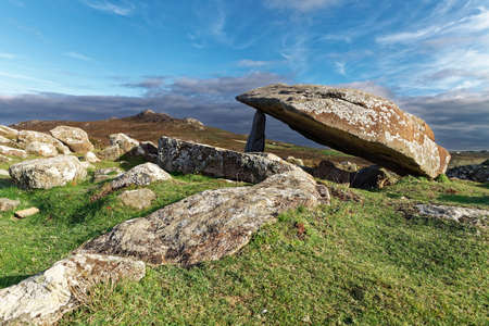 pembrokeshire: Coetan Arthur dolmen, ancient burial site near St Davids Head, Pembrokeshire
