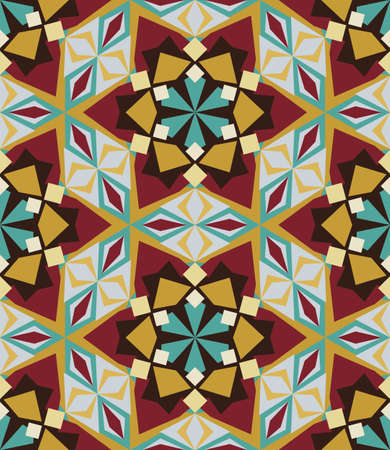 Kaleidoscope geometric colorful seamless pattern. Abstract vector background. Illustration