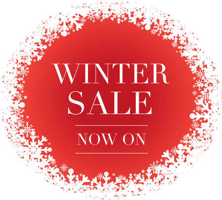 Winter Sale banner with red background and snowflakes