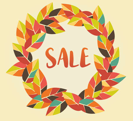 Autumn Sale graphic with colorful leaves. Can be used for prints, posters, emails, price tags and others Illustration