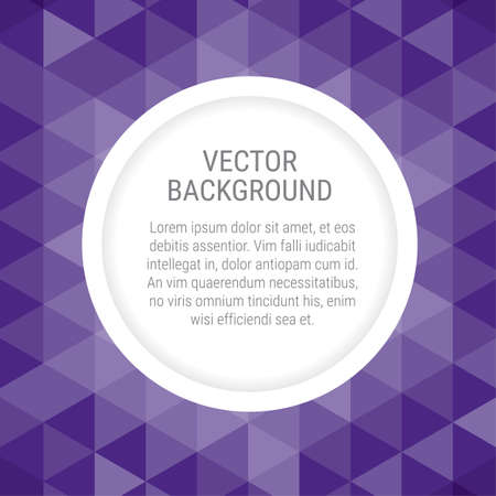 Abstract background with violet triangles and round space for a copy