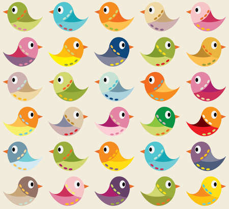 Seamless vector background with colorful birds. Can be used for textiles, card backgrounds, invitations, posters and other prints.