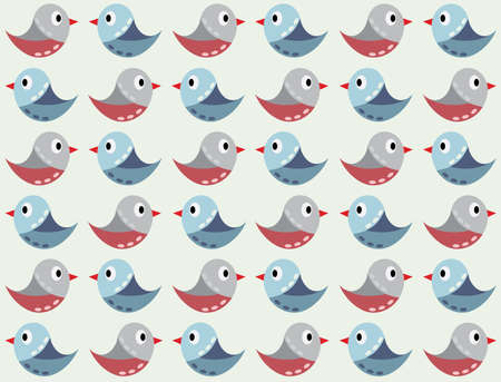 Seamless vector background with blue birds and flowers. Can be used for textiles, card backgrounds, invitations, posters and other prints. Vettoriali