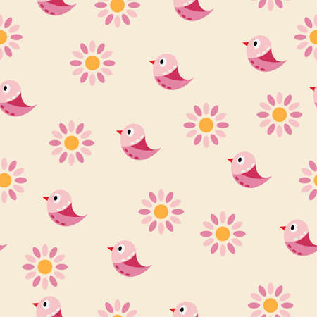 Seamless vector background with pink birds and flowers. Can be used for textiles, card backgrounds, invitations, posters and other prints.