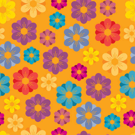 Spring or Summer seamless background with bright flowers Illustration