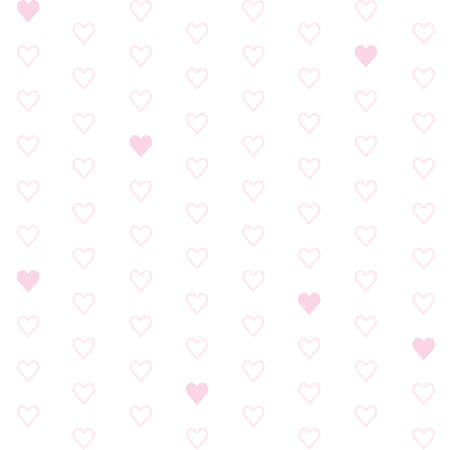 White background with pink hearts for web page backgrounds, textile designs, fills, banners