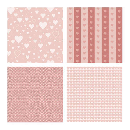 Set of 4 beautiful seamless patterns with hearts (tiling) for web page backgrounds, textile designs, fills, banners