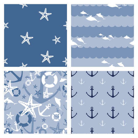 4 marine themed seamless vector patterns (tiling) for web page backgrounds, textile designs, fills, banners