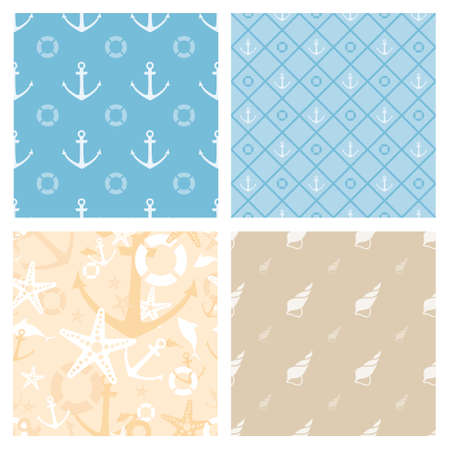 Set of 4 marine themed seamless vector patterns (tiling) for web page backgrounds, textile designs, fills, banners
