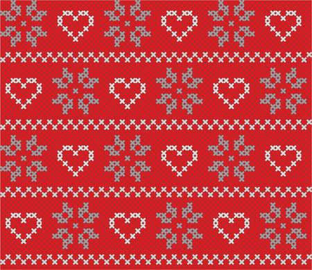 Beautiful Christmas and winter seamless background with detailed pattern made from stitches for cards, wrapping, web page backgrounds, textile designs, fills, banners, events invitation, menus, poster
