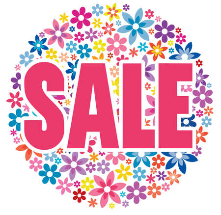 Sale graphic with colorful flowers in background. Can be used for leaflets, prints, websites, posters, emails, price tags, adverts. Vettoriali