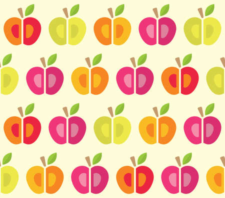 Seamless pattern with colourful cartoon apples